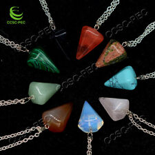 Wholesale lots 20pcs Carved Natural Gemstone Silver Tone Pendant Necklace Bead