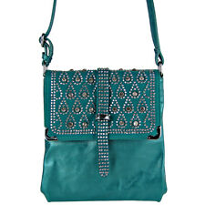TURQUOISE STUDDED RHINESTONE BUCKLEMESSENGER BAG CONCEALED CARRY MONTANA WEST