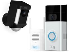 Ring Wireless Video Doorbell 2 Combo Chime Pro Spotlight Camera Door Bell Black