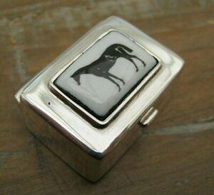 English Hallmarked Sterling Silver & Enamel Horse Racing Vinaigrette / Box