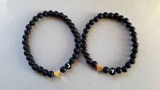 Partnerarmband Perlen 2x schwarz matt Paarschmuck Wunsch-Buchstaben-Herz Gold