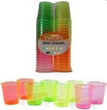 40 Disposable Plastic Neon Coloured Party Jelly Shot Glasses Cups 30ml Colourful