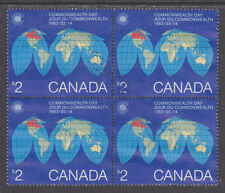 Canada Sc 977 used 1983 $2.00 Commonwealth Day, Choice Block of 4
