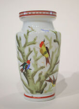 Vintage Milk Glass Vase - Hand Painted & Gilded - Unsigned - Early 20th Century
