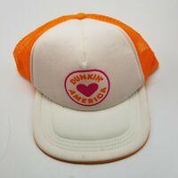 Dunkin Donuts America Hat Cap Orange Adult Used Mesh Snapback O1