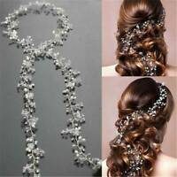 Women Pearl Wedding Hair Vine Crystal Bridal Accessories Diamante Headbands NEW