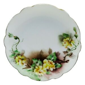 VTG Bavaria Plate White Brown and Yellow Florals Scalloped Edges CottageCore