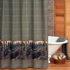 "The Bears Wildlife Fabric Shower Curtain 72"" x 72"" ~ Black Bear Cabin Lodge Bath"
