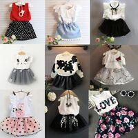 2PCS Toddler Kids Baby Girls Outfits T-shirt Tops+Tutu Skirt Dress Clothes Sets