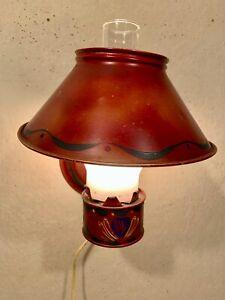 Hand Made Antique Tramp Art / Folk Art tin can and pie plate wall lamp