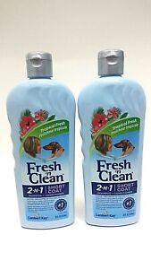 ( LOT 2 ) Fresh 'n Clean 2-N-1 SHORT COAT Dog Shampoo & Conditioner 18 Oz Each