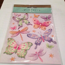 Marcella by K&Company BUTTERFLIES AND FLOWERS DIMENSIONAL STICKERS NEW ADHESIVE
