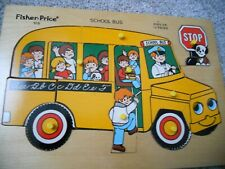 Vintage fisher price wood puzzles #515(Bus puzzle) and #502(Community)