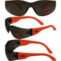 Rider Wrap Around Safety Glasses Orange Frame Smoke Lens by Global Vision