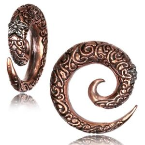 PAIR ROSE & WHITE BRASS CARVED SPIRALS GAUGES EARRINGS PLUGS TUNNELS EXPANDERS