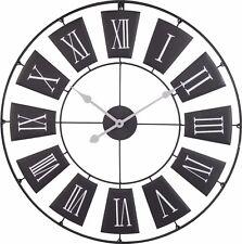 Wanduhr Großuhr  Metall Uhr römisches Design schwarz 70 cm H320