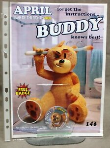 """BAD TASTE BEARS OFFICIAL POSTER AND BADGE FOR APRIL 2006 - """"BUDDY"""" - NO 146."""