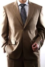 MENS SINGLE BREASTED 2 BUTTON TAN DRESS SUIT SIZE 46R, PL-60212N-204-TAN