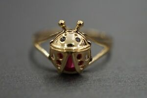 Real 14K Solid Yellow Gold Children Baby Kid Ladybug Simulated Ruby Ring. Size 3