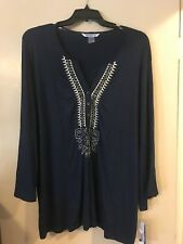 Peter Nygard Blue Indigo Pullover Knit Blouse Tunic Top 3/4 Bell Sleeve Size 3X