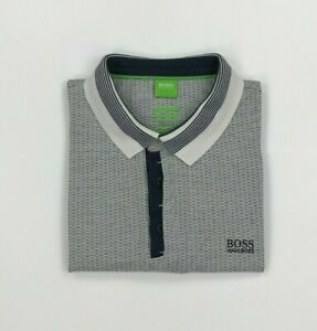 Men's White & Navy Blue Boss Hugo Boss Polo Shirt Large L Modern Fit Pavel A*