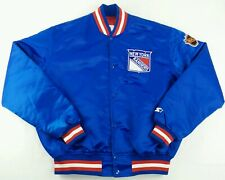 Vintage Starter NHL New York Rangers Button Satin Hockey Jacket Size Mens XL