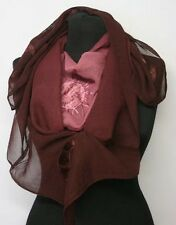 Gothic Astro Scarf Stole Sun Moon Stars Burgundy Embroidered Wine Red NEW