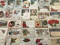 ~TRUE VINTAGE WHITNEY~CHRISTMAS COLLECTION~LOT of 35 XMAS POSTCARDS--s227