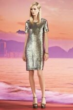 $8,500 GUCCI DRESS FAMOUS RUNWAY PALE GREEN SILK GEORGETTE SEQUIN Size Small