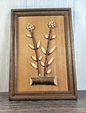 "Vintage MCM Framed Wood Wall Art Log And Flowers 16""H 11""W"