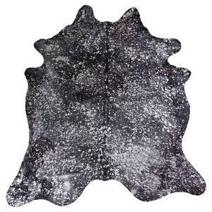 Devore Metallic Silver on Black cowhide rug