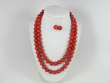 Chunky red turquoise necklace, multi strand red Ruby statement necklace,