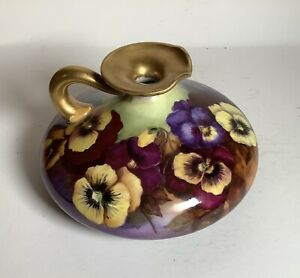 Antique Limoges Large Squat Vase With Colorful Pansy Decoration Gold Trim France