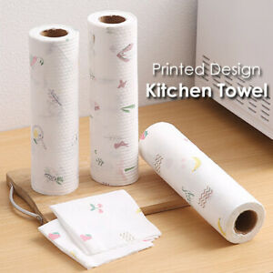 50X Reusable Roll Kitchen Printed Paper Tissue Towel Ultra Tear Resistant