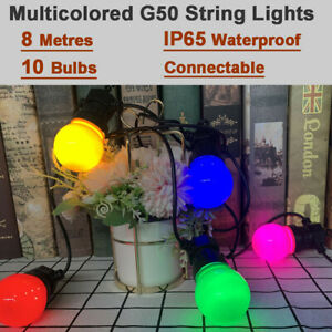 Safety 24V Mains Powered Outdoor String Lights G50 Bulb Colored LED Patio Light