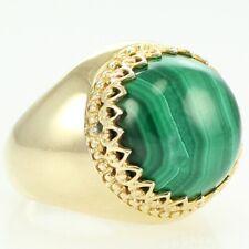 Malachite Statement Ring Size 7 925 Sterling Silver Vermeil &