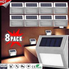 8X 3LED Solar Powered Stainless Steel Gutter Light PIR Motion Sensor Wall Light