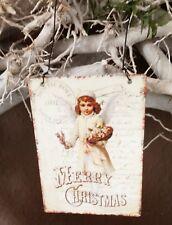 Bild Schild Metall  Postkartendruck Merry Christmas Shabby Vintage Deko 8cm