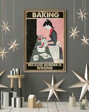 Baking Because Murder Is Wrong Portrait Satin Canvas 0.75in