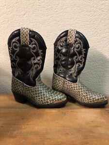 Laredo Western Cowboy Kids Boots Snake Skin Look Size 9