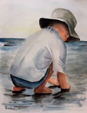 Boy on the Beach Original Watercolor Painting 9.7 x 12 inches