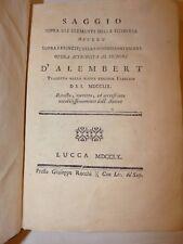 ILLUMINISMO FILOSOFIA MATEMATICA D'ALEMBERT Saggio elementi filosofia 1760 Lucca