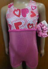 Foil Shorty unitard Pink Valentines Hearts Girls Sizes Acro Gymnastics Foil Nwt
