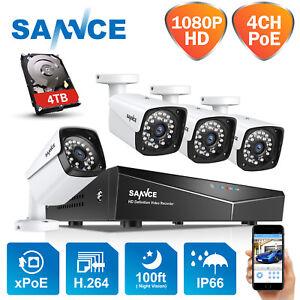SANNCE 4CH PoE 1080P IP Kit de Caméra Surveillance Sécurité NVR Accès à Distance
