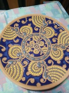 Vintage Bonis Pottery Terracotta Decorative Collector Plate Rhodes Greece Studio