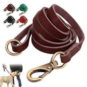 Real Leather Pet Dog Lead Leash Rope Training O Ring 5ft/150cm Long Black Brown