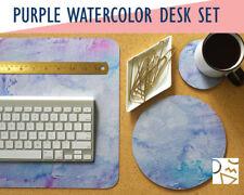Purple Watercolor Print Desk Mat, Mouse Pad & Coaster Set -Desk Accessory Set