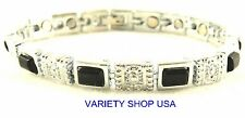 Silver with Black Onyx Alloy Magnetic Chain Link 7.25 Bracelet 36,000 Gauss 5270