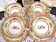 PARAGON tea cup and saucer FLORAL Marlborough pattern painted teacup set OF 4