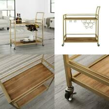 Gold Bar Cart Crafted Metal Wood 4 Wheels Glass Racks Wine Bottle Maneuvering